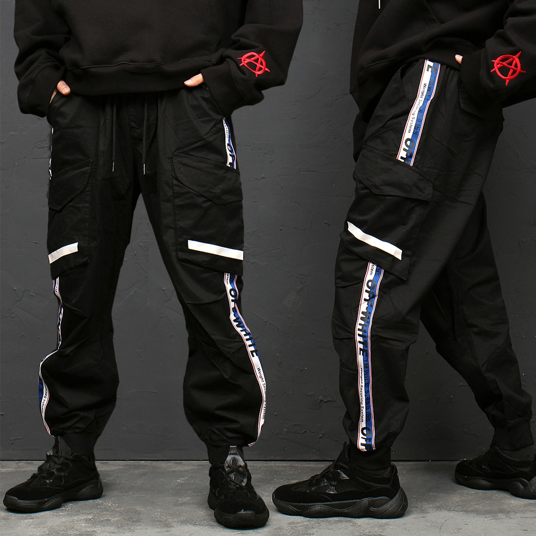 Loose Fit Cargo Pocket Side Line Joggers 126