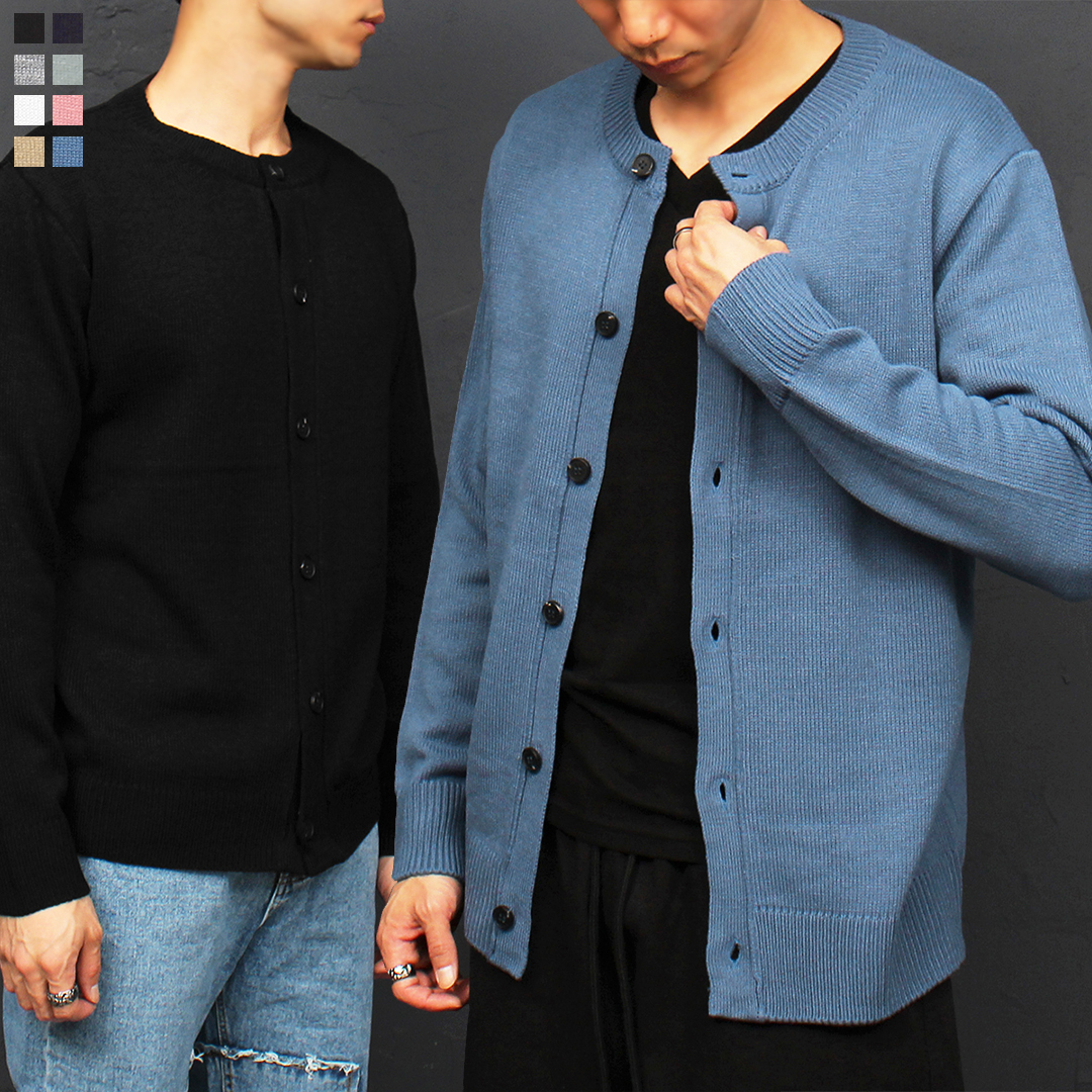 Basic Crew Neck Button Up Knit Cardigan 021