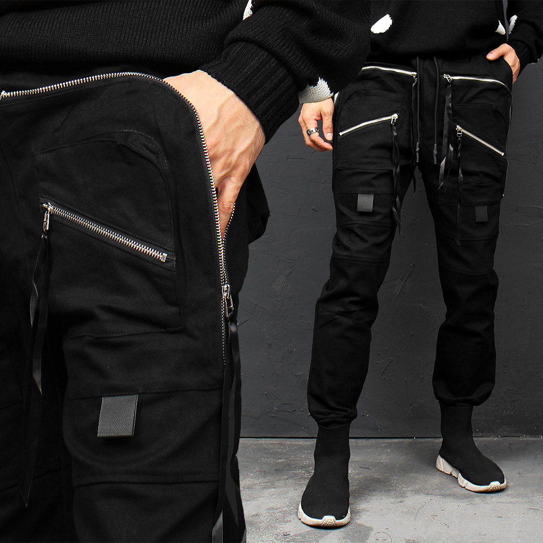 Techwear Double Zipper Cargo Pocket Jogger Pants 017