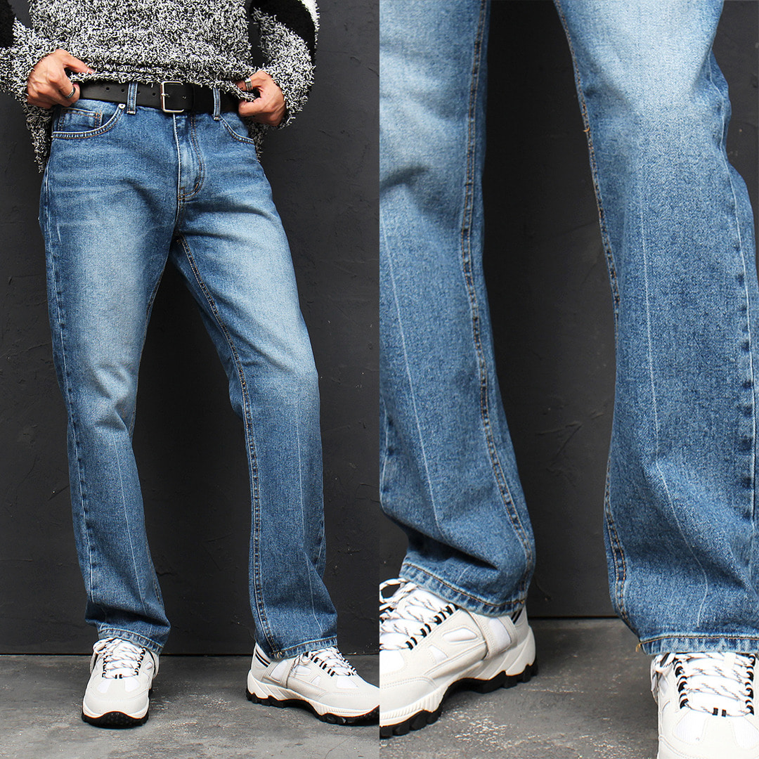 Standard Fit Faded Line Straight Blue Jeans 112