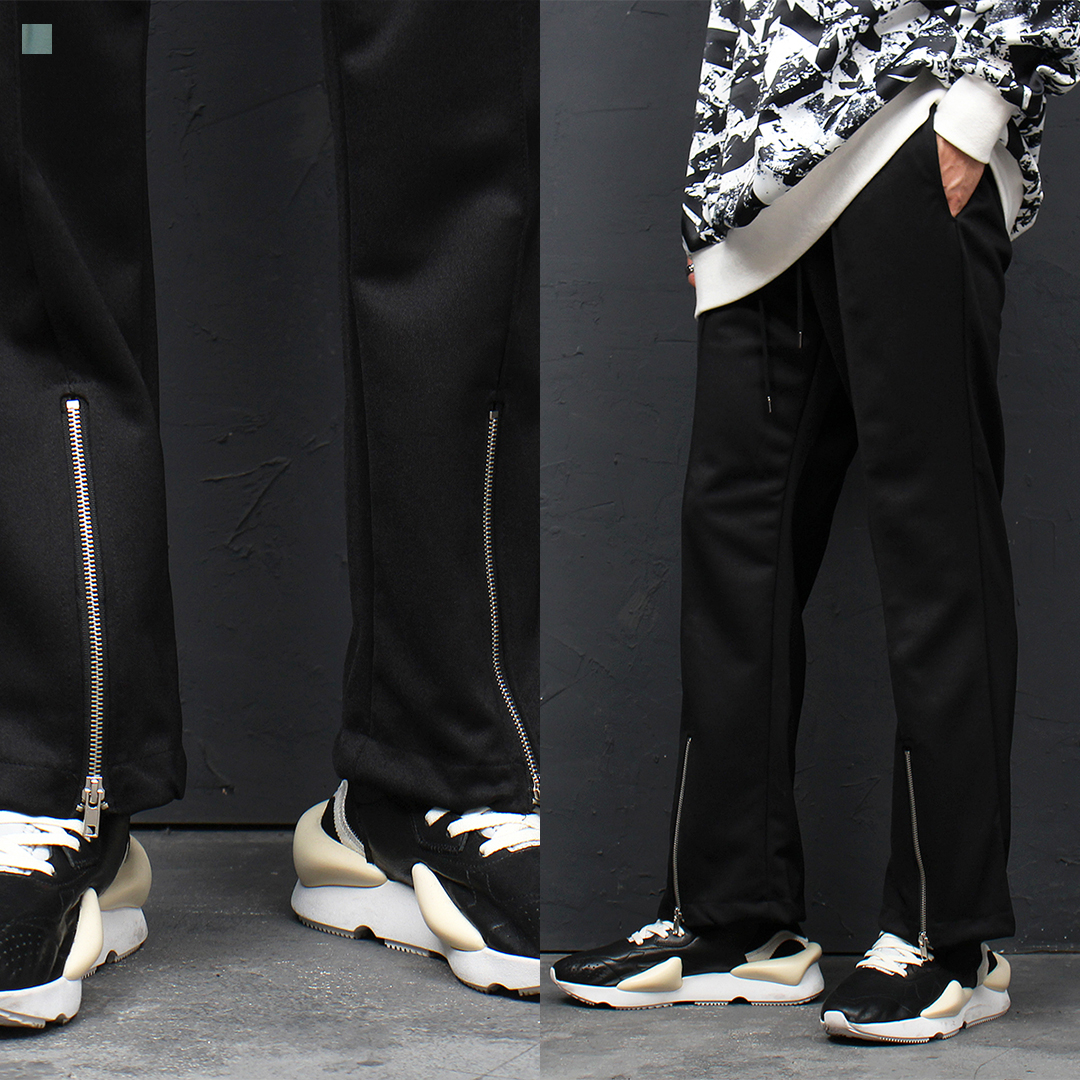 Front Zippered Hem Jersey Track Pants 120