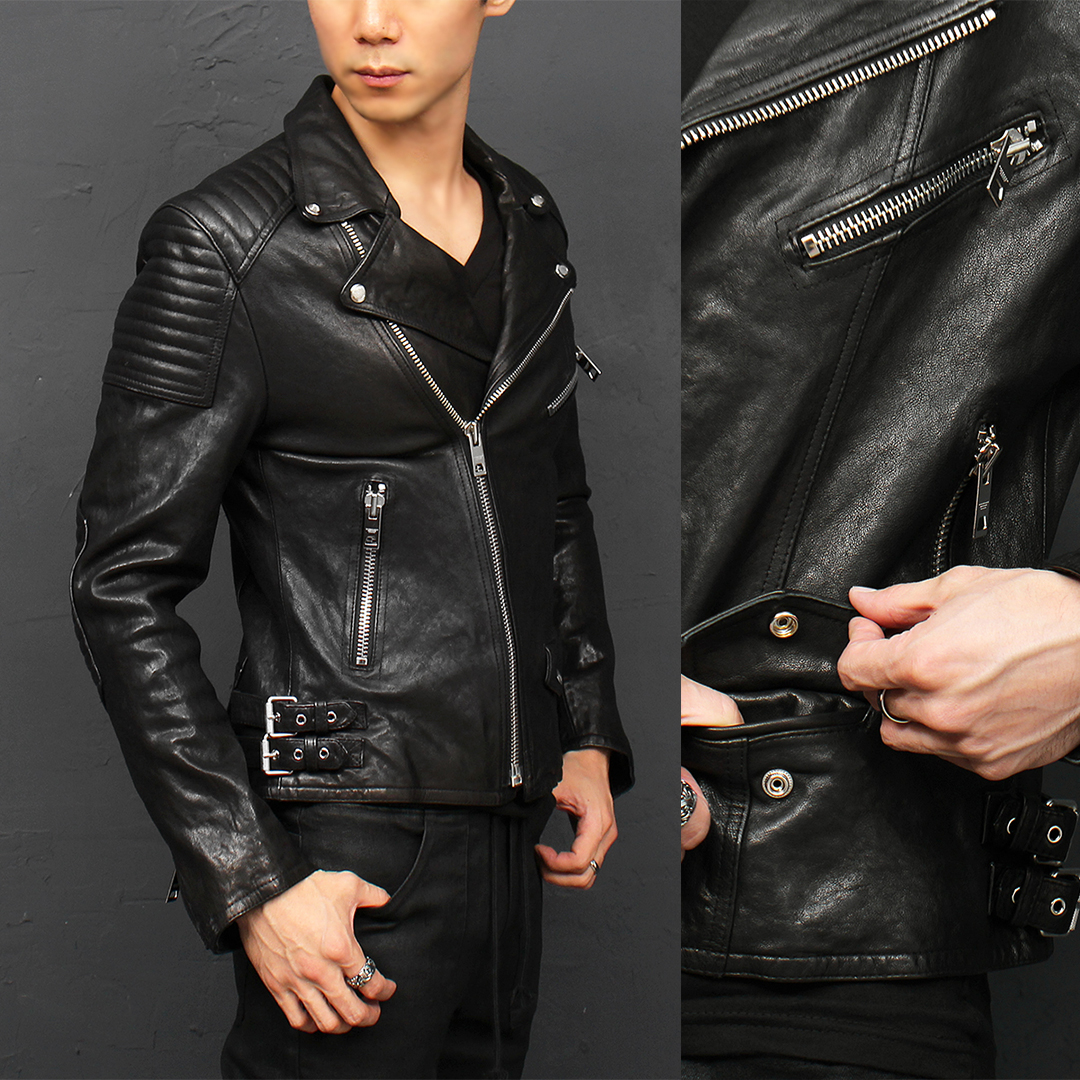 Notched Lapel Collar Zipper Buckle Lambskin Leather Rider Jacket 004