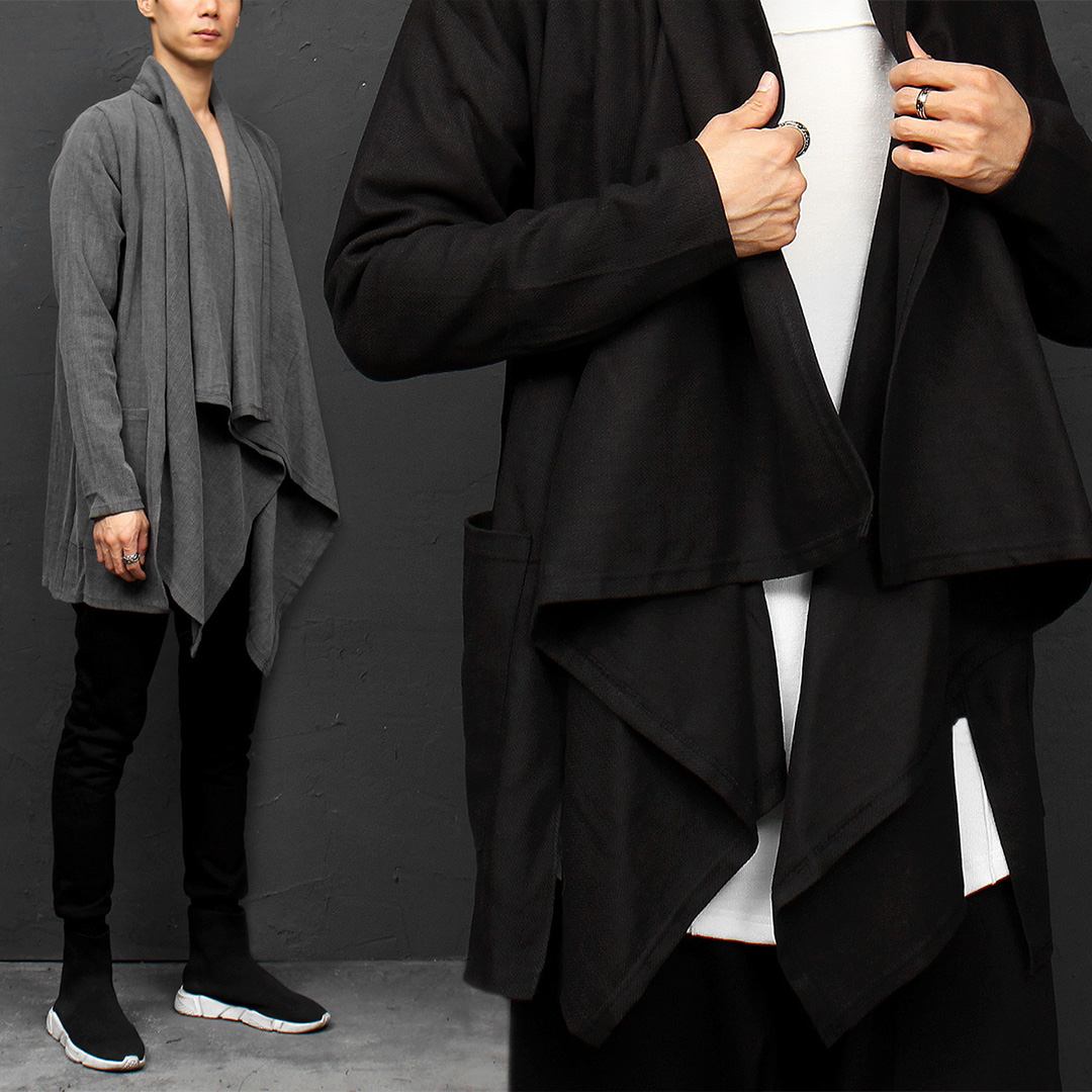Avant garde Draped Shirring Open Shawl Cardigan 020