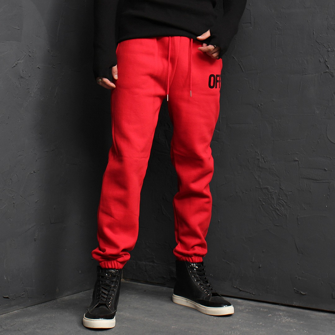 OFF Printing Fleecy Interior Jogger Sweatpants 142