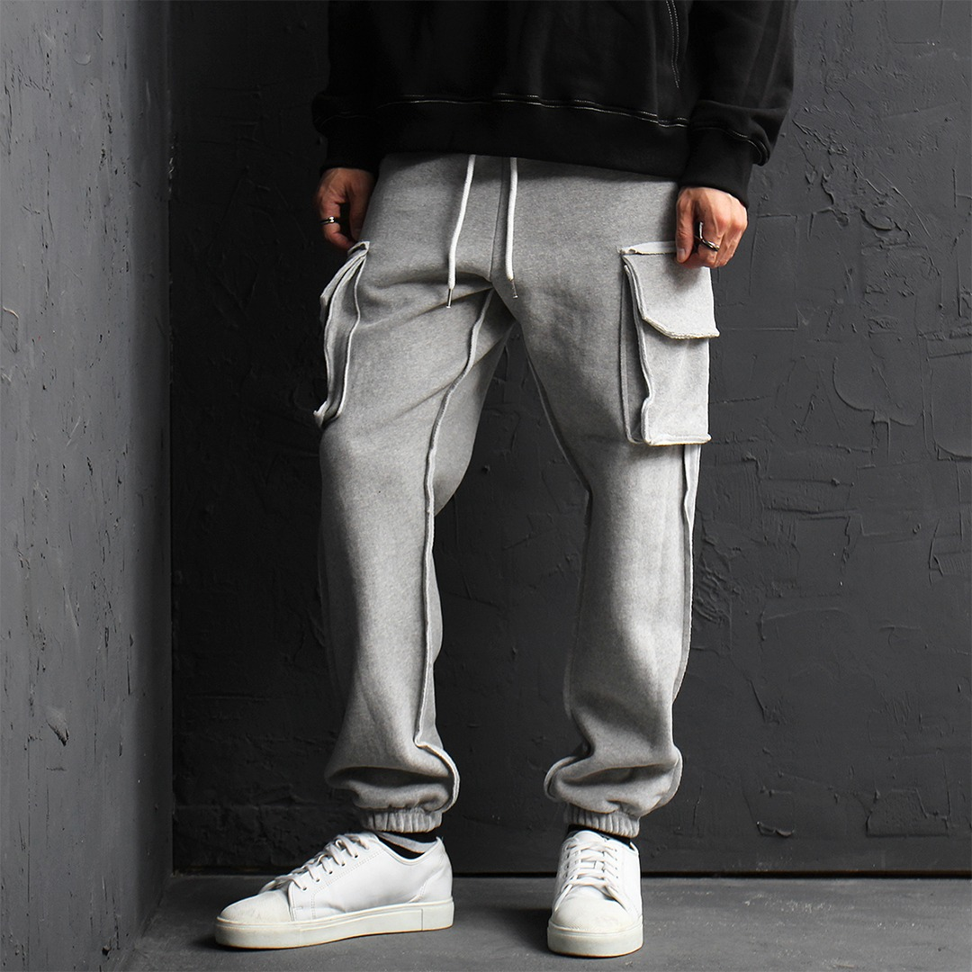 Reversed Line Cargo Pocket Fleecy Interior Jogger Sweatpants 141