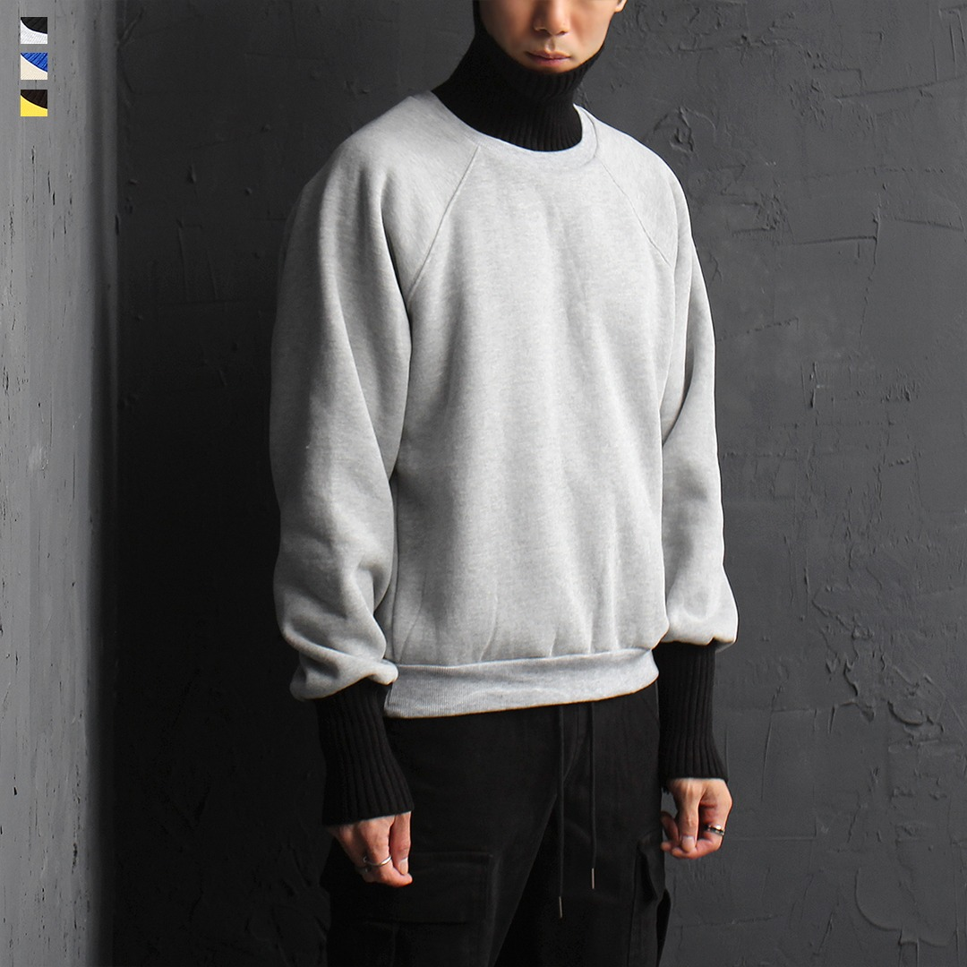 Ribbed Knit High Neck Cuffs Interior Fleece Sweatshirt 068