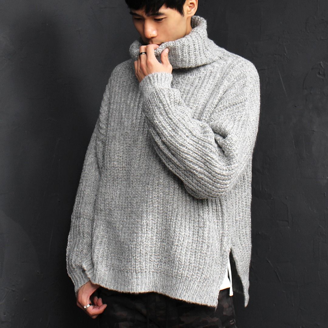 Loose Fit High Turtle Neck Split Side Knit Jumper 024