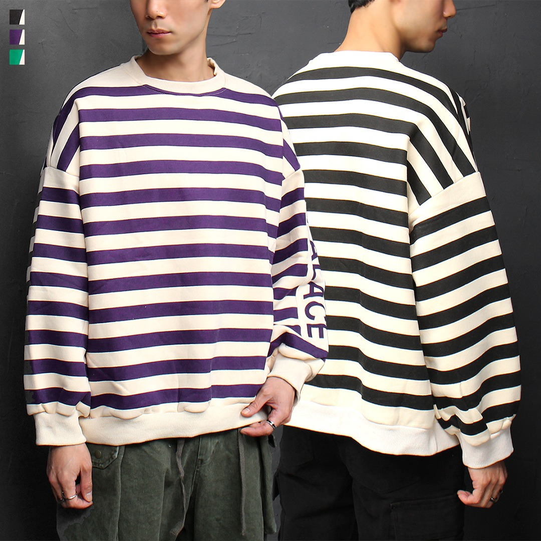 Striped Pattern Logo Patch Interior Fleece Boxy Sweatshirt 067