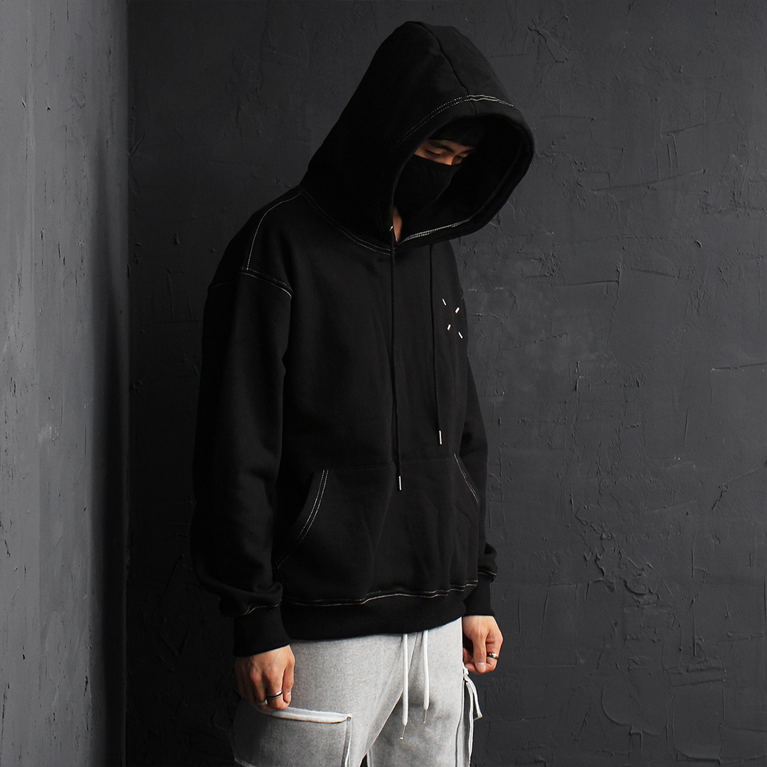 Contrast White Stitched Black Boxy Hoodie 074