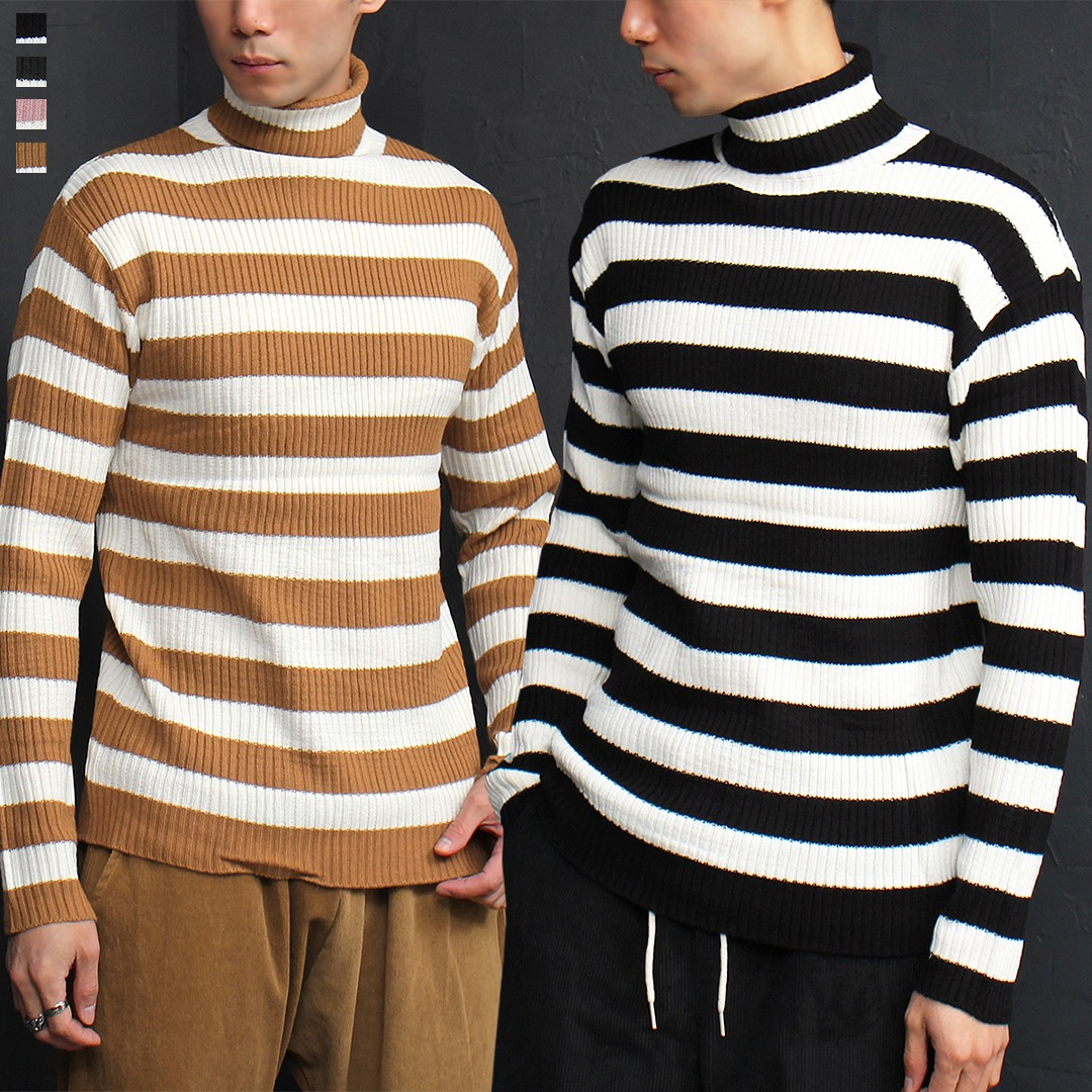 Striped Pattern High Turtle Neck Corduroy Knit Jumper 025