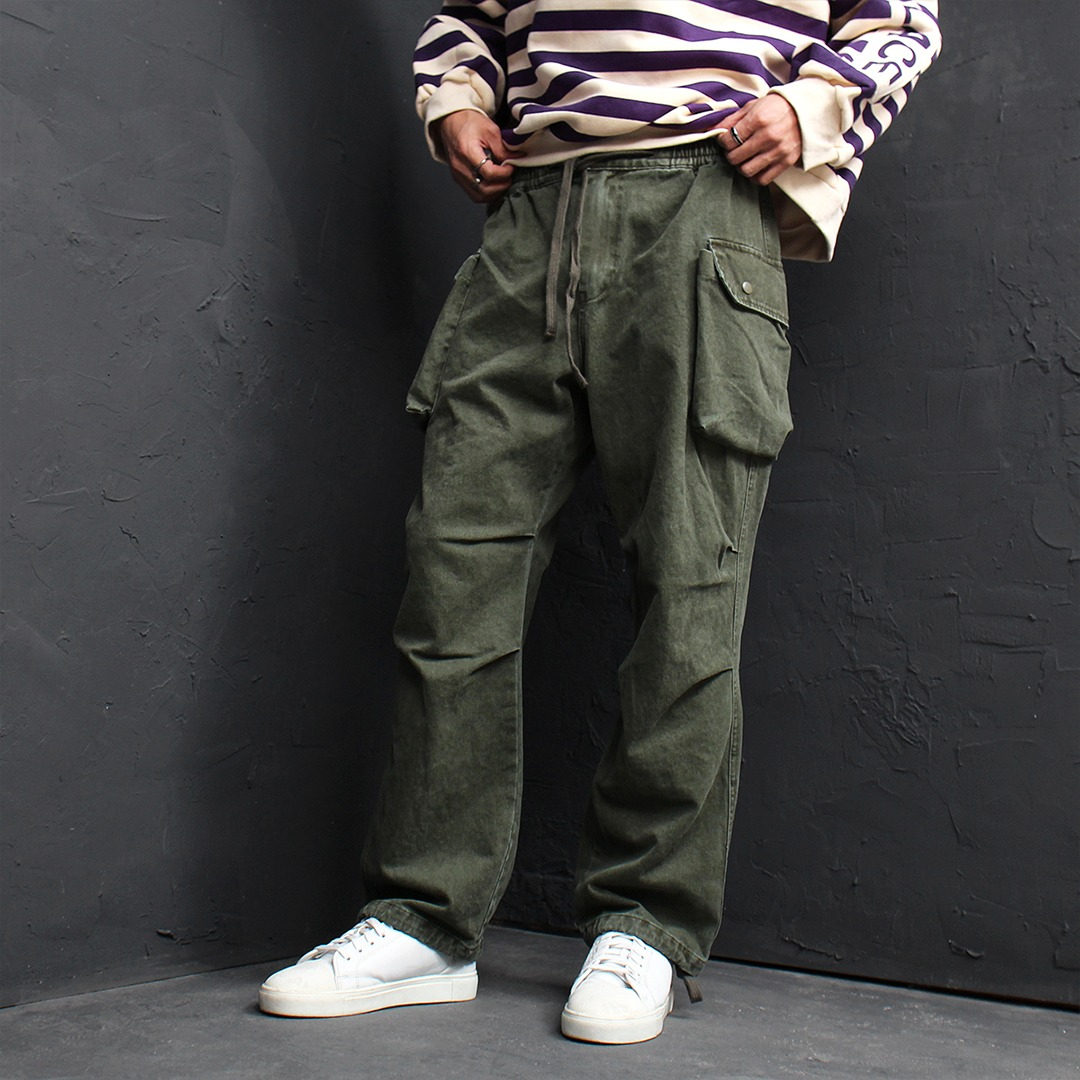 Loose Fit Faded Strap Control Cargo Pocket Pants 138