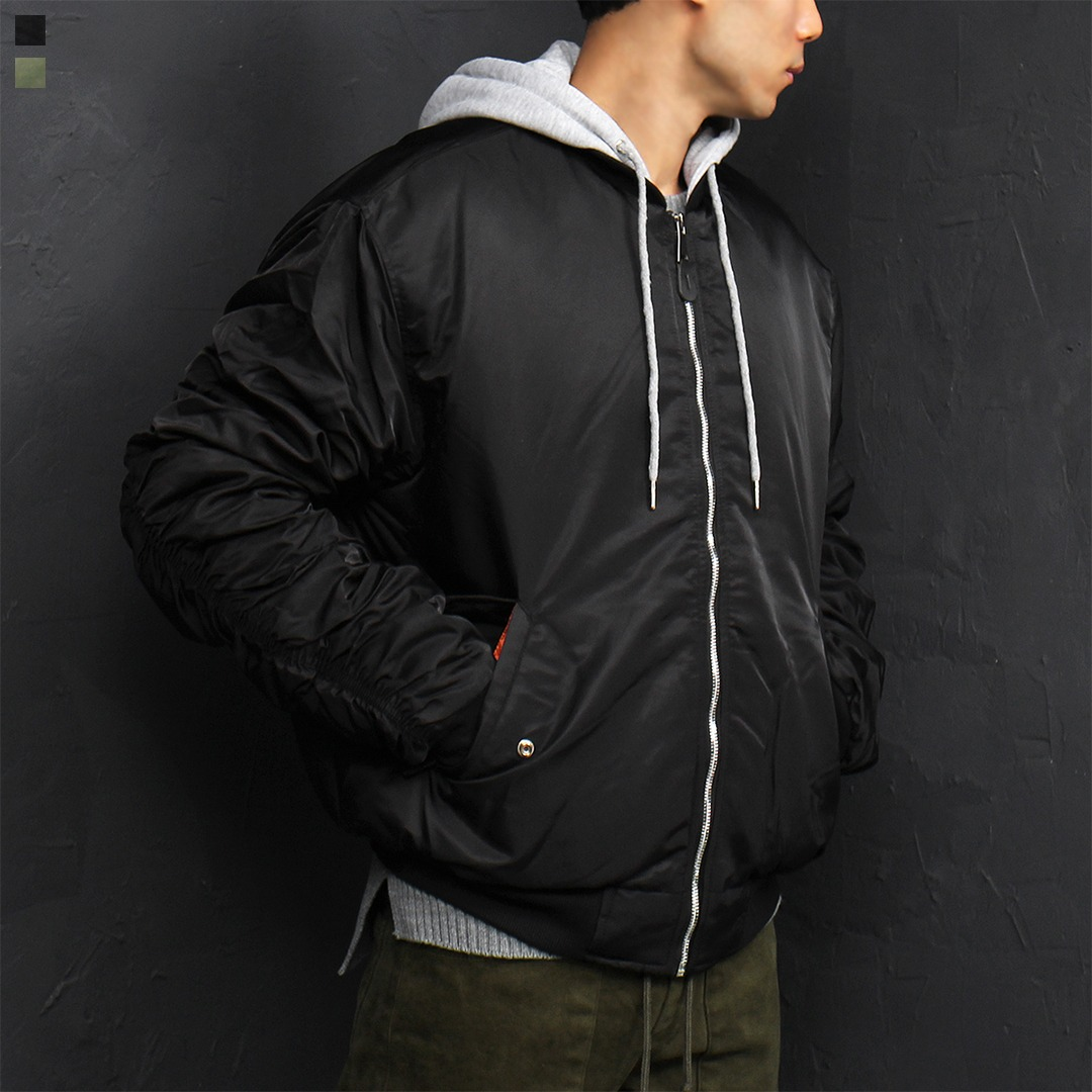 Loose Fit Shirring Sleeve Hood Bomber Jacket 009