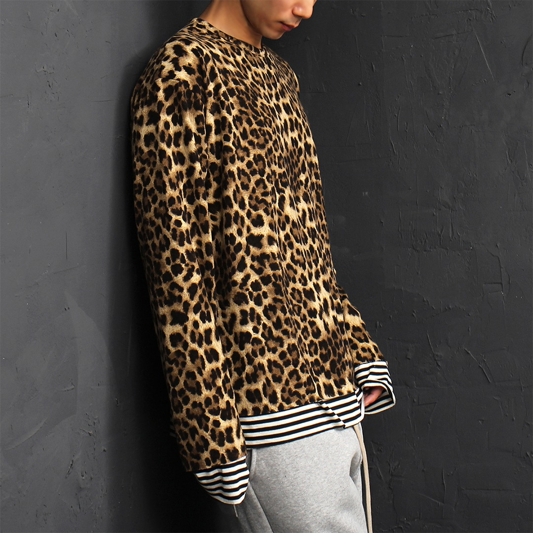 Fleece Leopard Layered Striped Boxy Tee 072