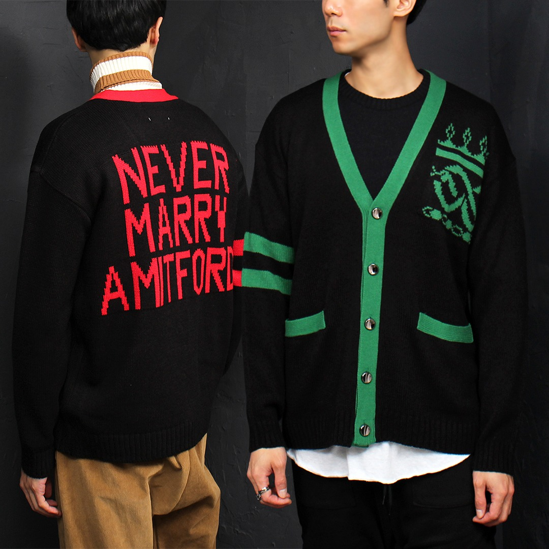Contrast Color Logo Statement Knit Cardigan 026