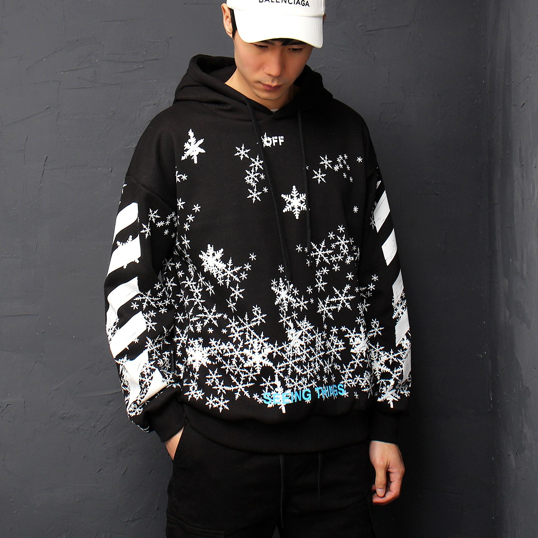Snowflakes Graphic Printing Boxy Hoodie 060