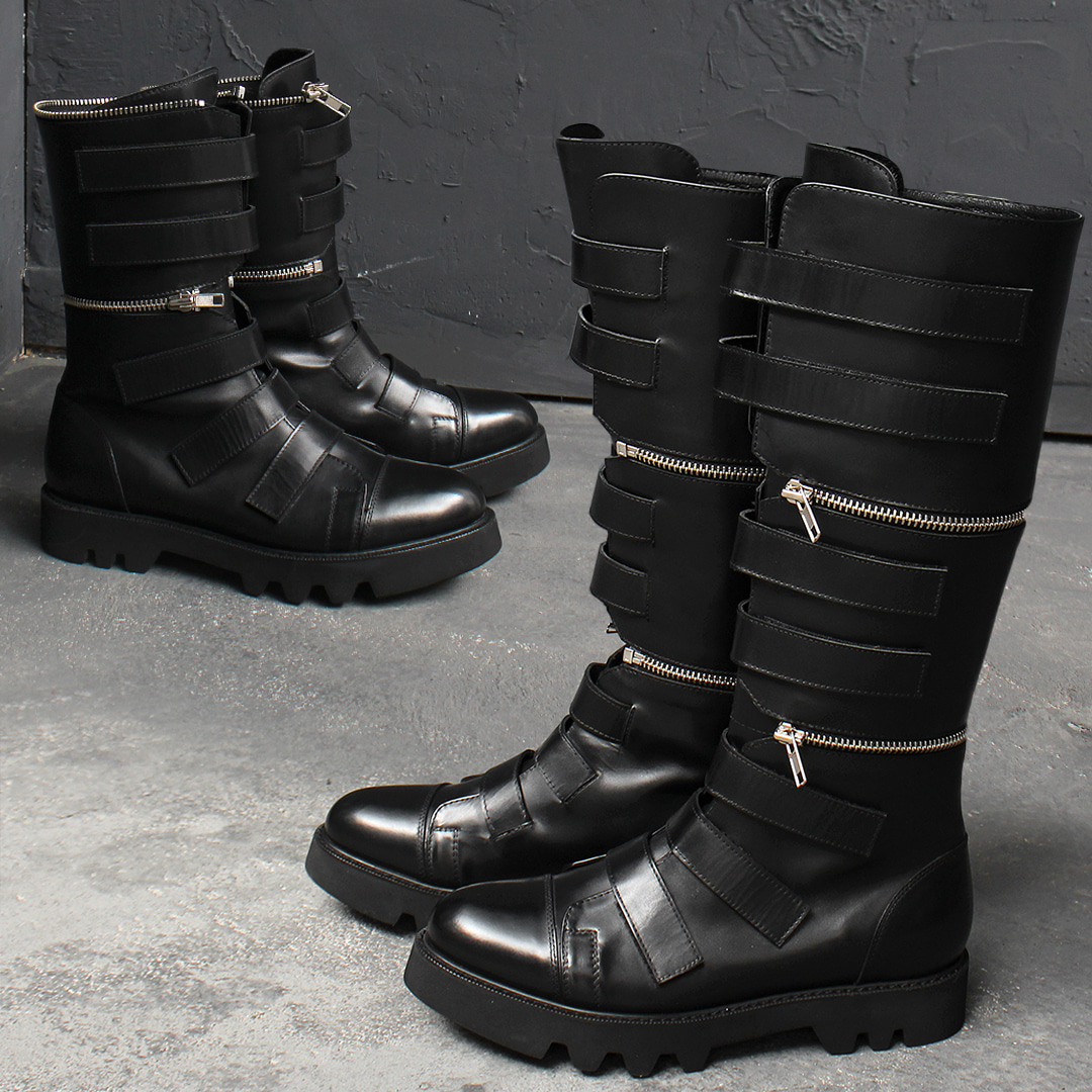 Detachable Zipper Handmade Long Leather Boots 015