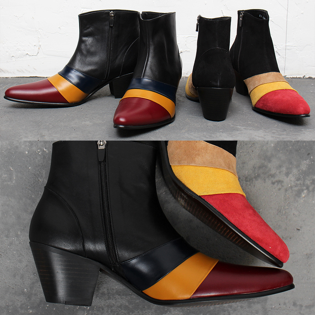 High Heel Triple Color Leather Suede Ankle Boots 011