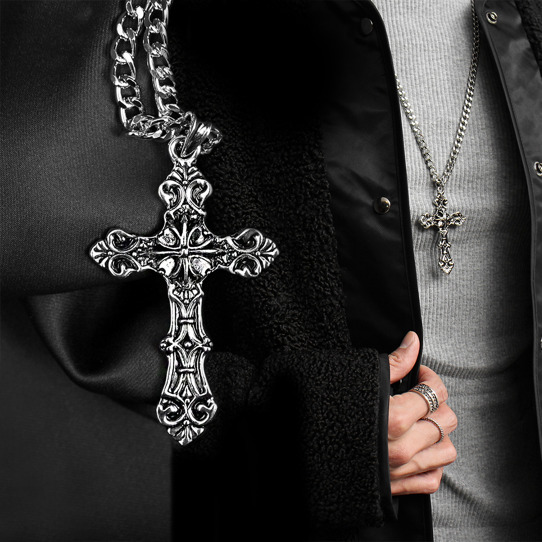 Silver Tone Steel Cross Chain Necklace N109