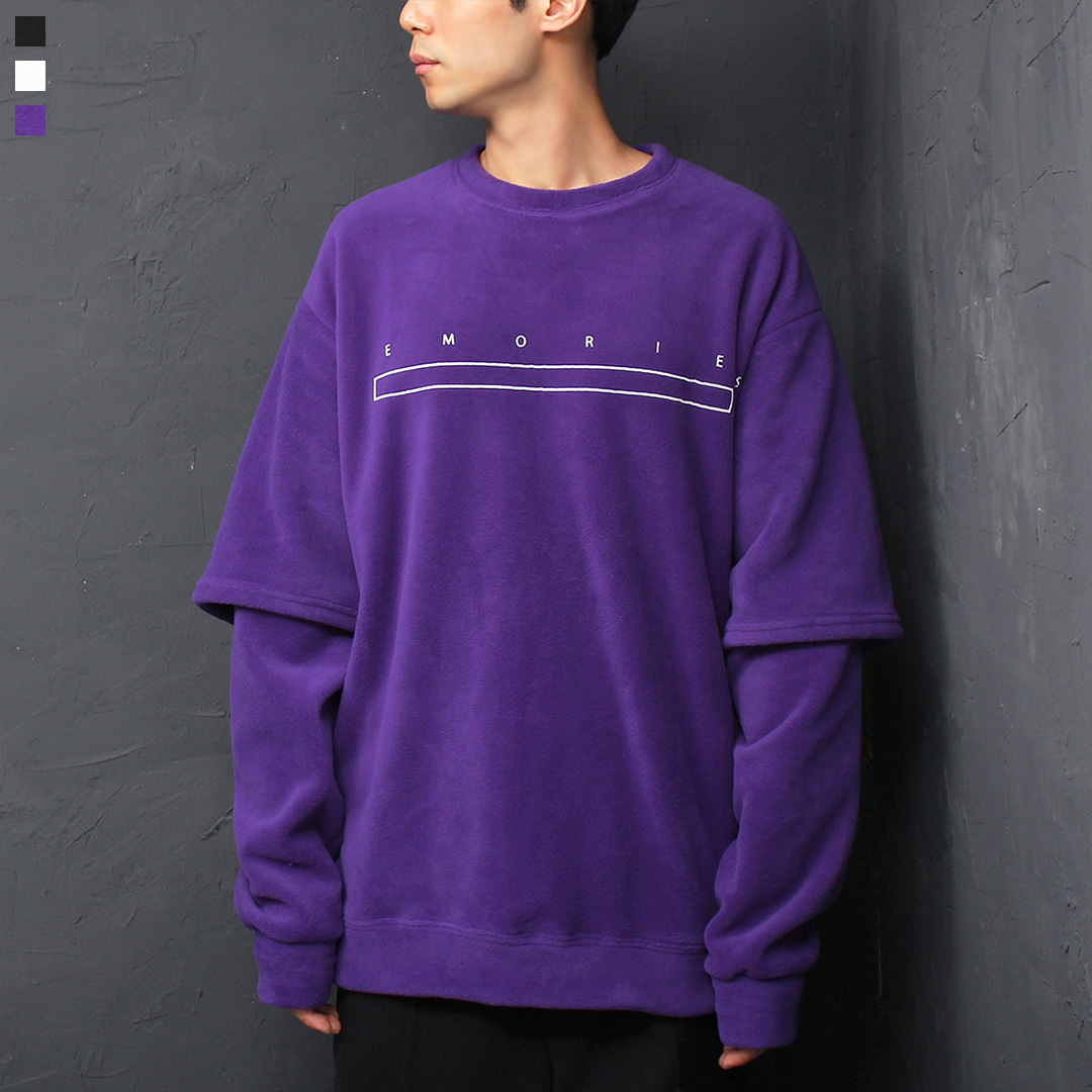 Loose Fit Layered Sleeve Split Side Fleece Sweatshirt 079