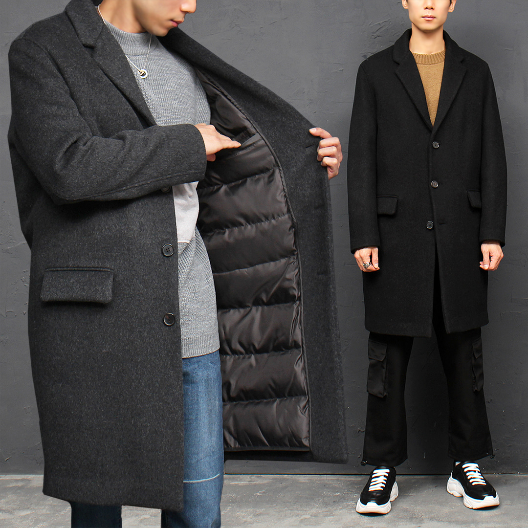 Goose Down Interior Padded Long Wool Coat 015