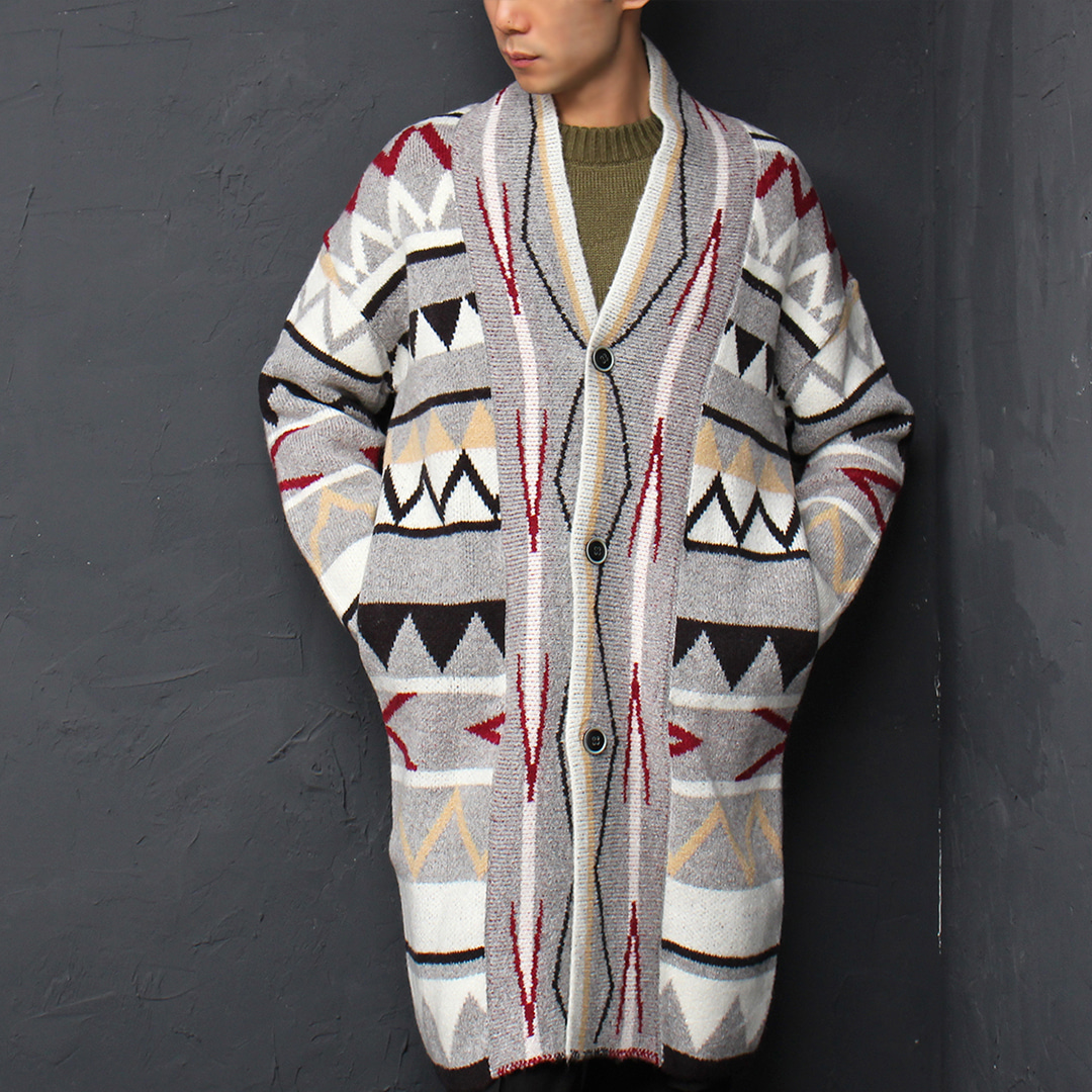 Multi Color Pattern Jacquard Long Knit Shawl Coat 016
