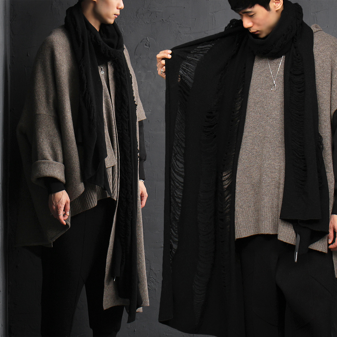 Black Grunge Long Wool Knit Muffler 010
