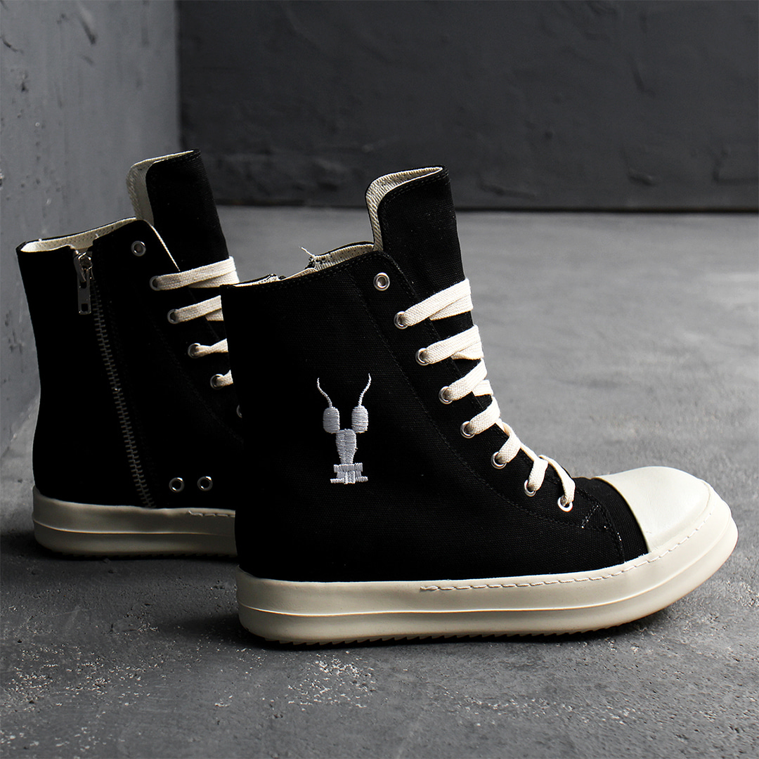 Over Tongue Stitched Logo Zip Up High Top Sneakers 022