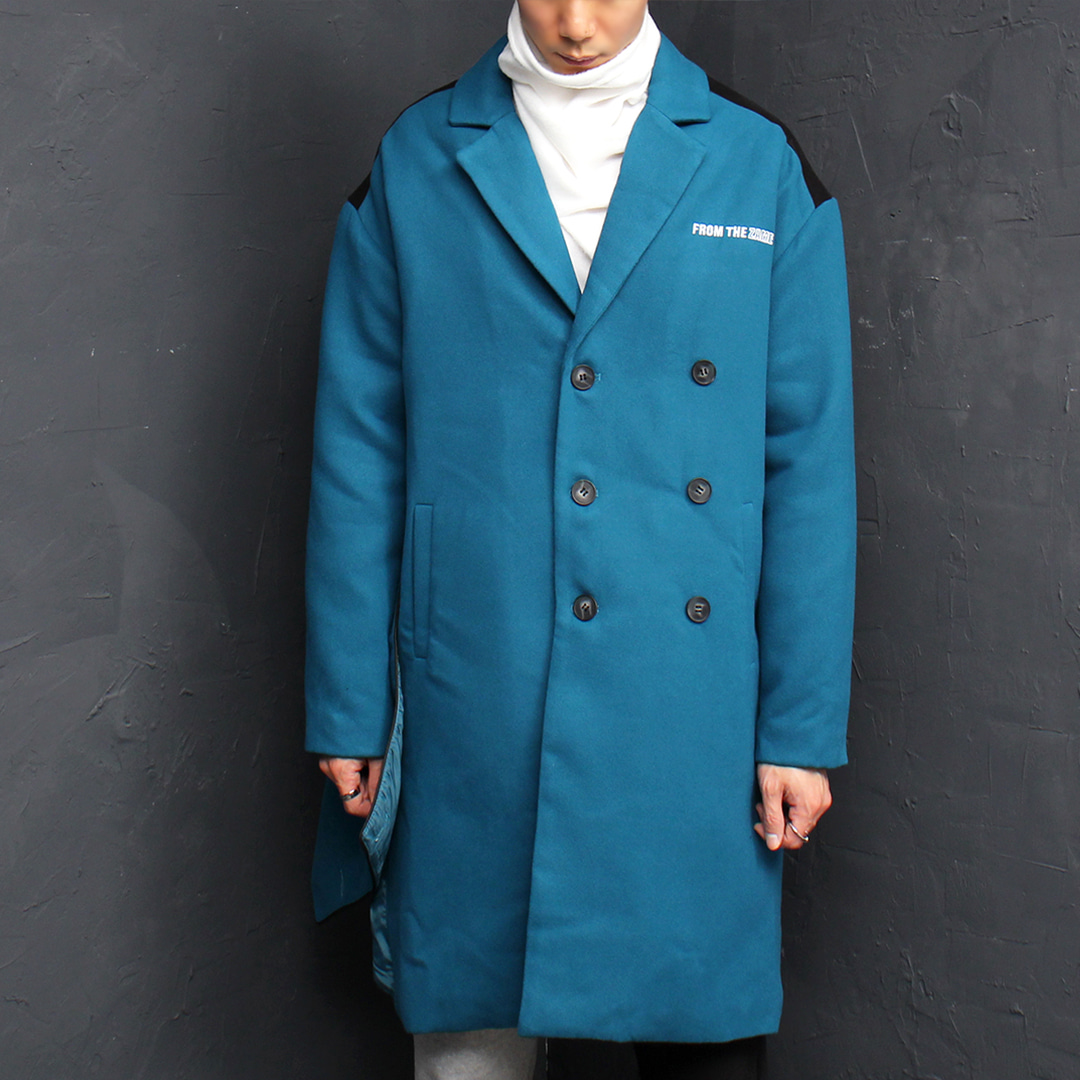Unique Cover Styling Street Fashion Blue Wool Jacket 017