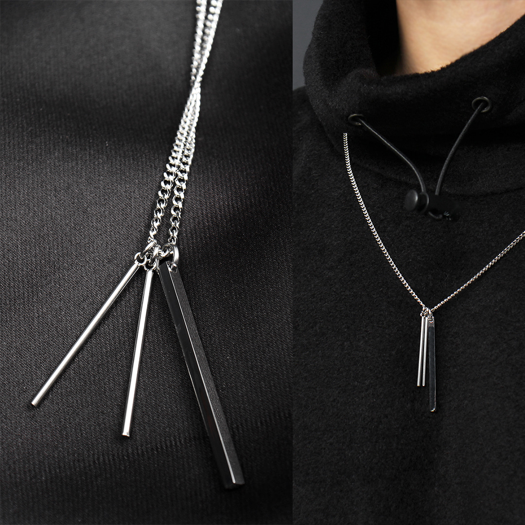 Triple Stick Pendant Chain Necklace N113