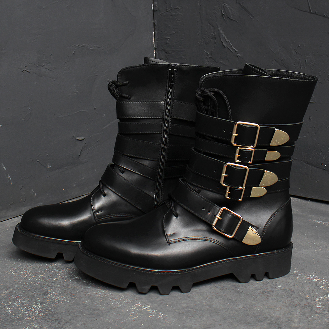 Handmade Gold Multi Buckle Leather Boots 014