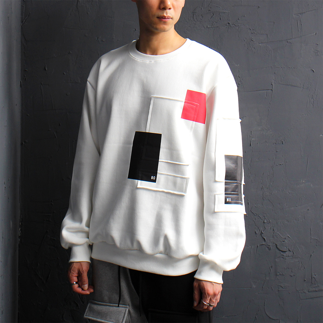 Loose Fit Patch Printing Interior Fleece Sweatshirt 080