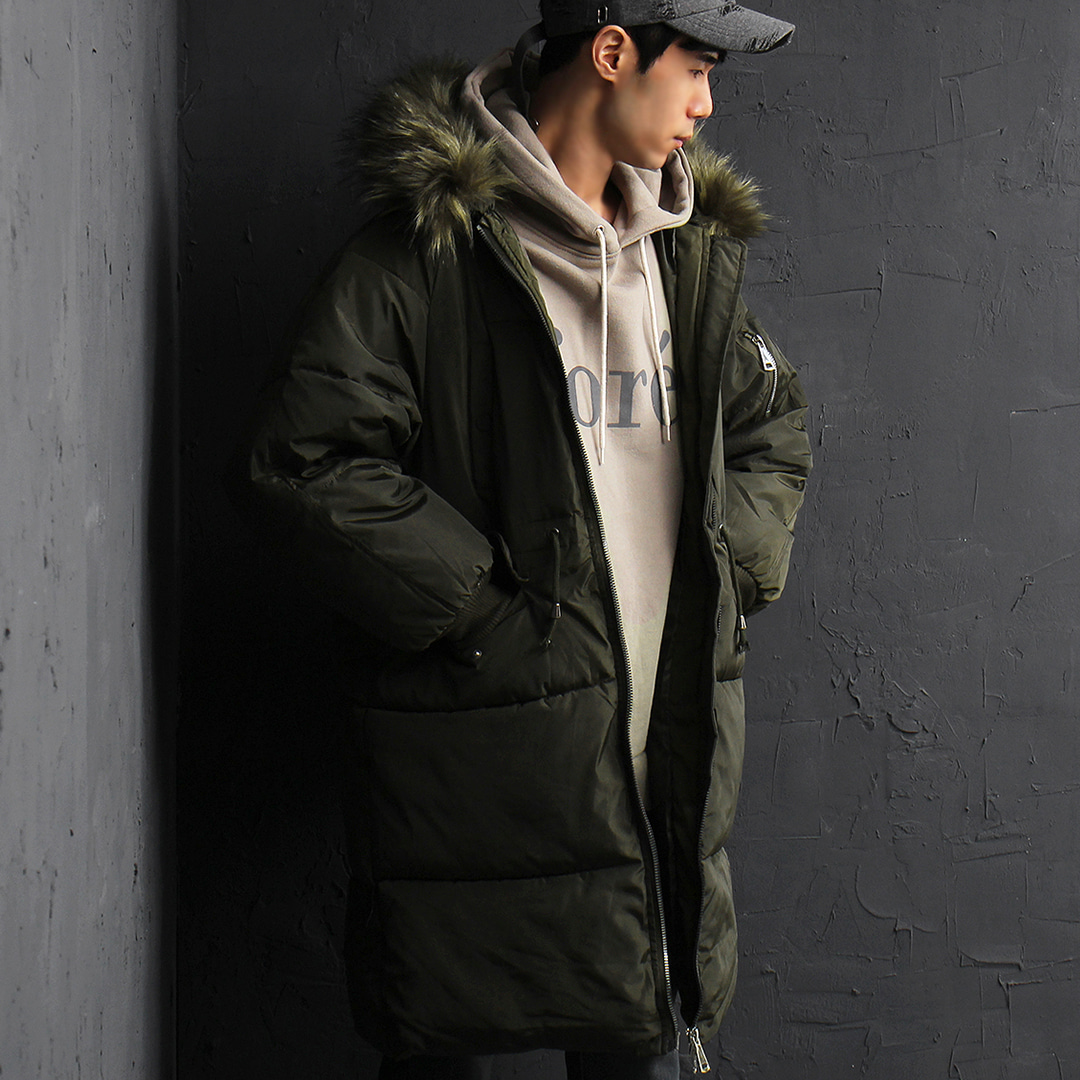 Synthetic Raccoon Fur Hood Military Parka 024