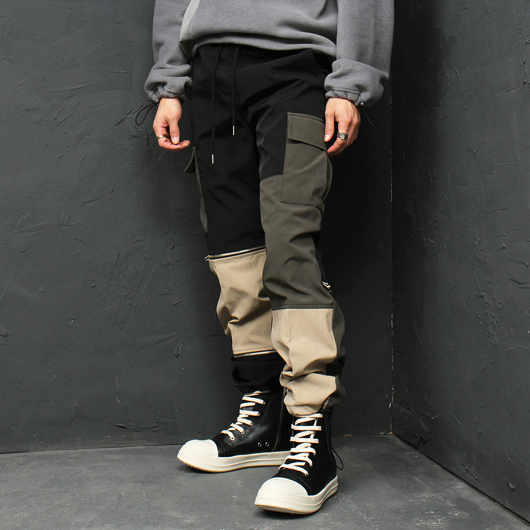 Zipper Styling Cargo Pocket Jersey Sweatpants 022