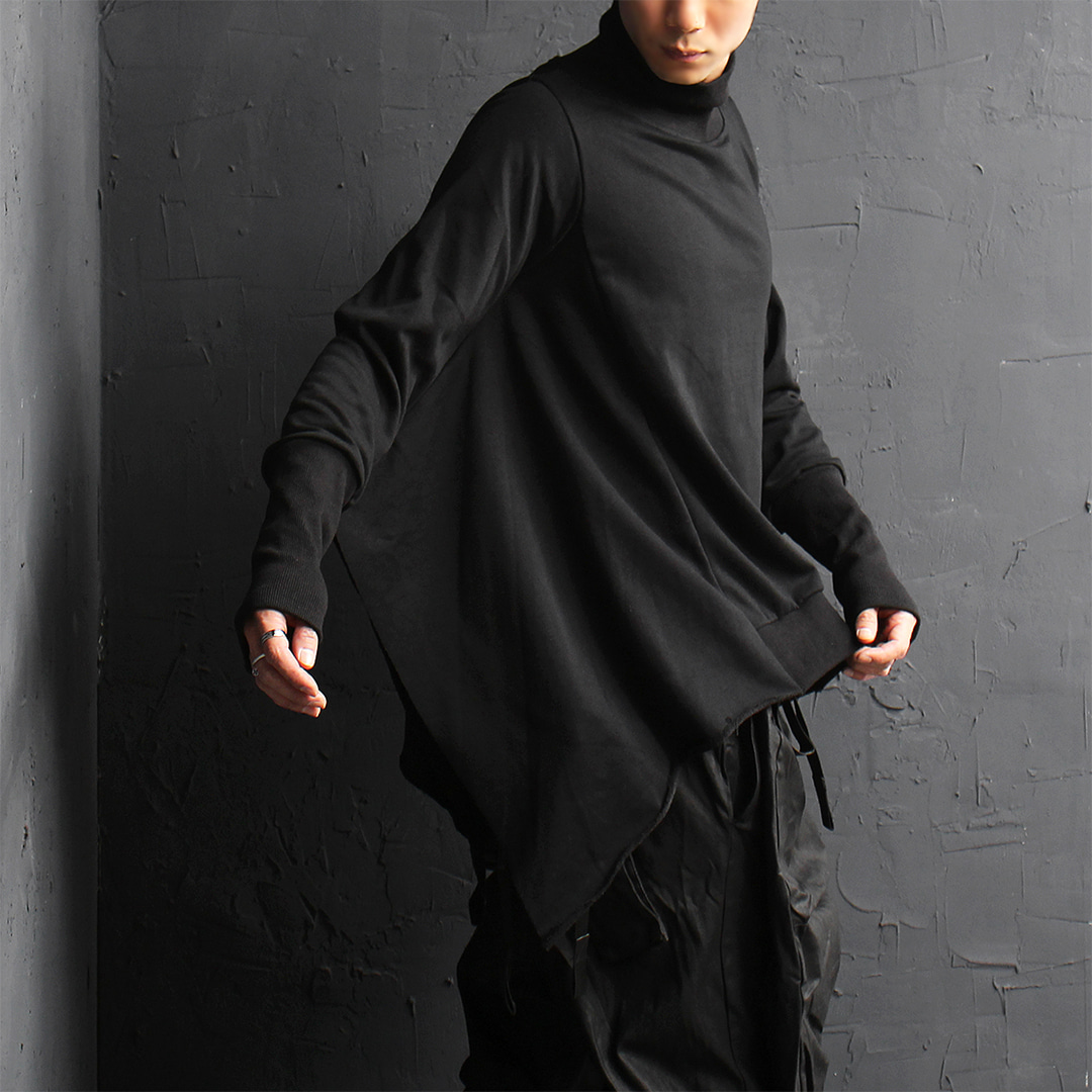 Avant garde High Neck Ribbed Cuff Poncho Tee 078