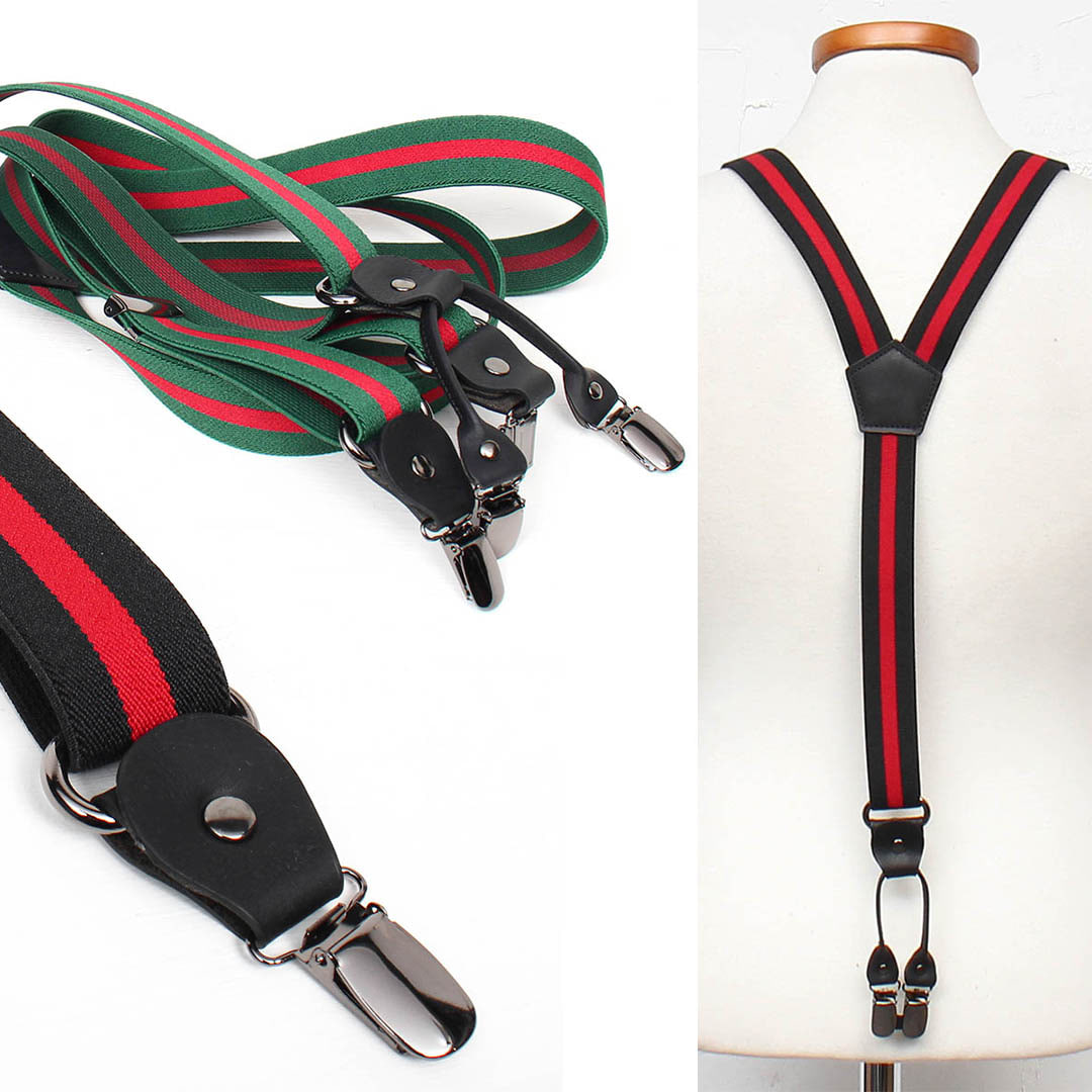 Contrast Color Adjustable Elastic Band Color Suspenders 030