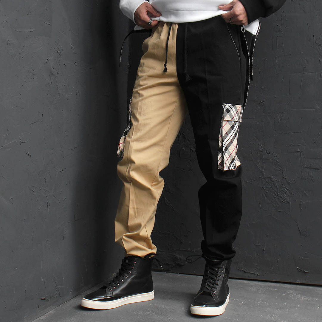 Check Cargo Pocket Drawstring Hem Jogger Sweatpants 123