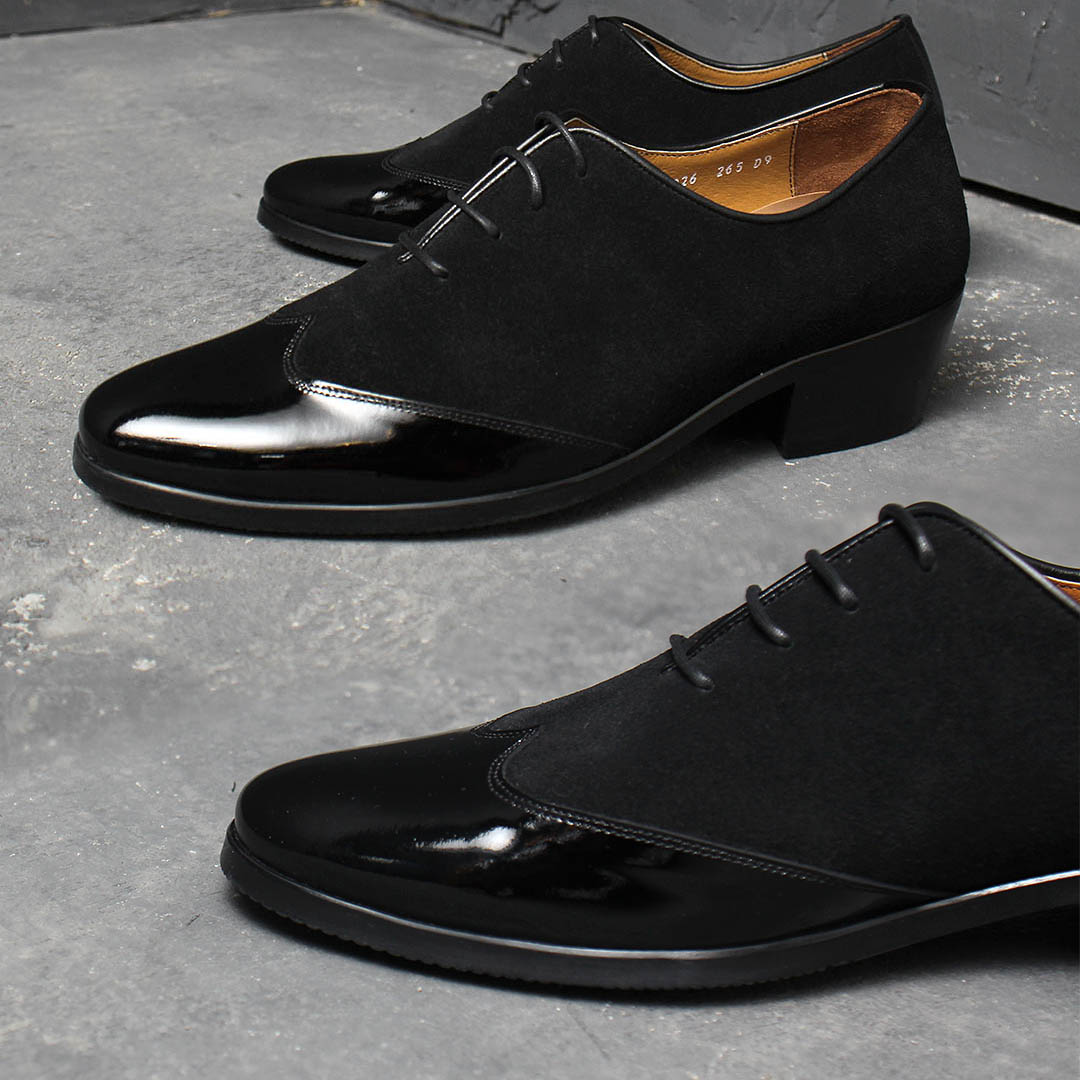 Black Suede Patent Leather Combination Handmade Oxfords 003