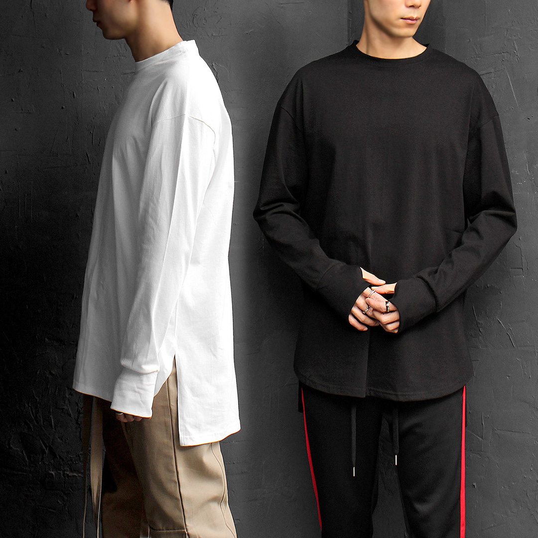 Unbalanced Hem Hand Warmer Boxy Long Sleeve Tee 081