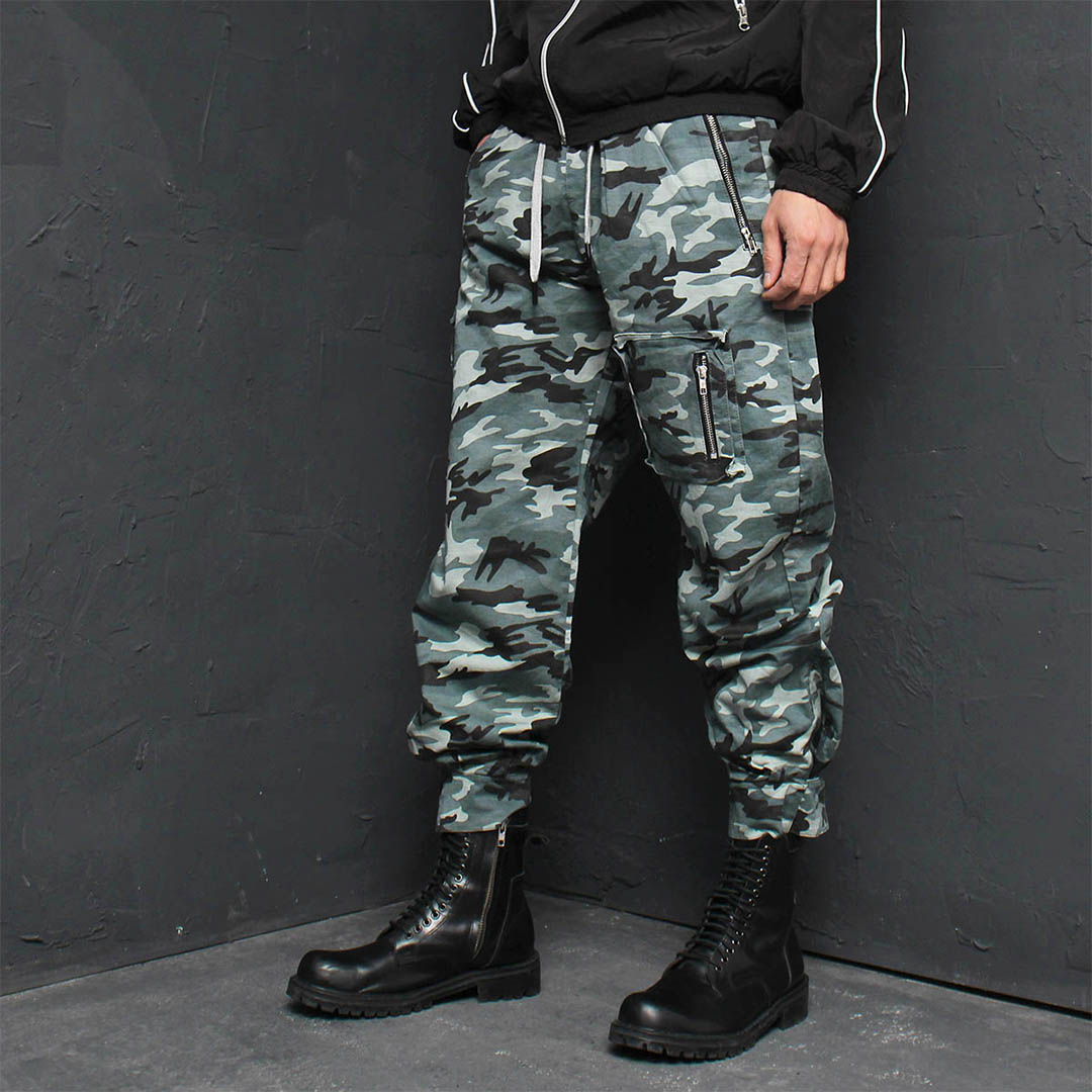 Camouflage Zipper Cargo Pocket Jogger Pants 163