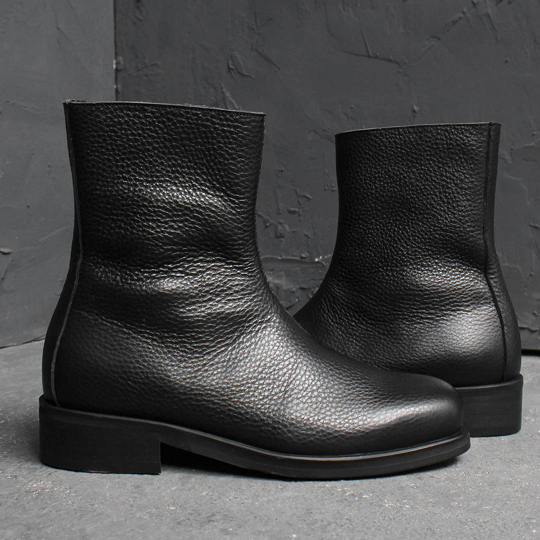 Black Leather Diagonal Zip Up Handmade Boots 016
