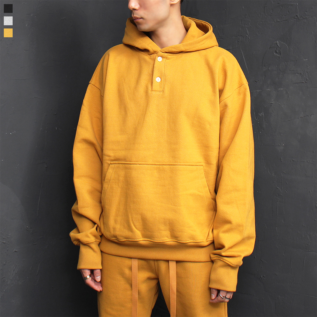 Over sized Loose Fit Thick Cotton Button Hoodie 090