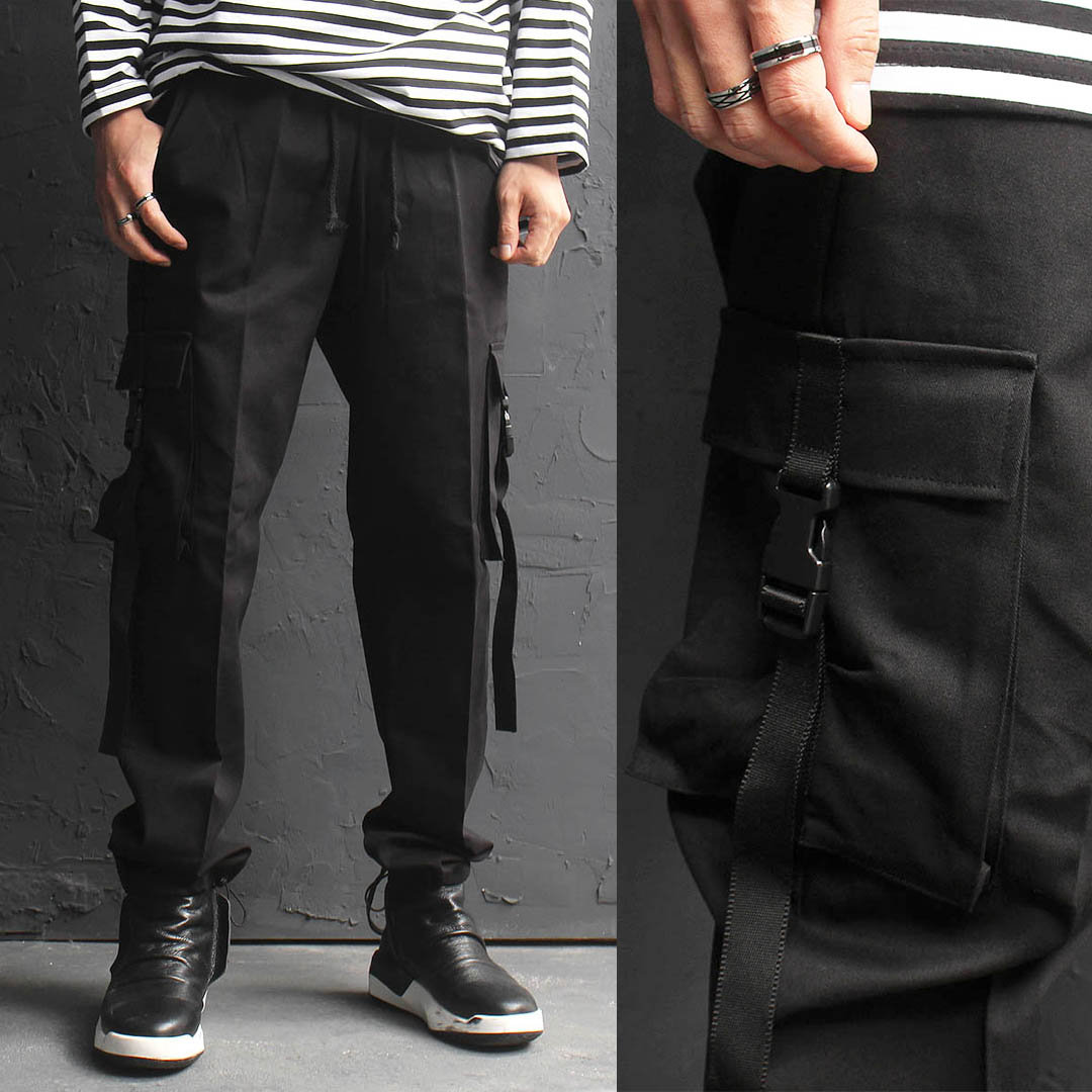 Buckle Strap Cargo Pocket Drawstring Hem Jersey Jogger Sweatpants 170