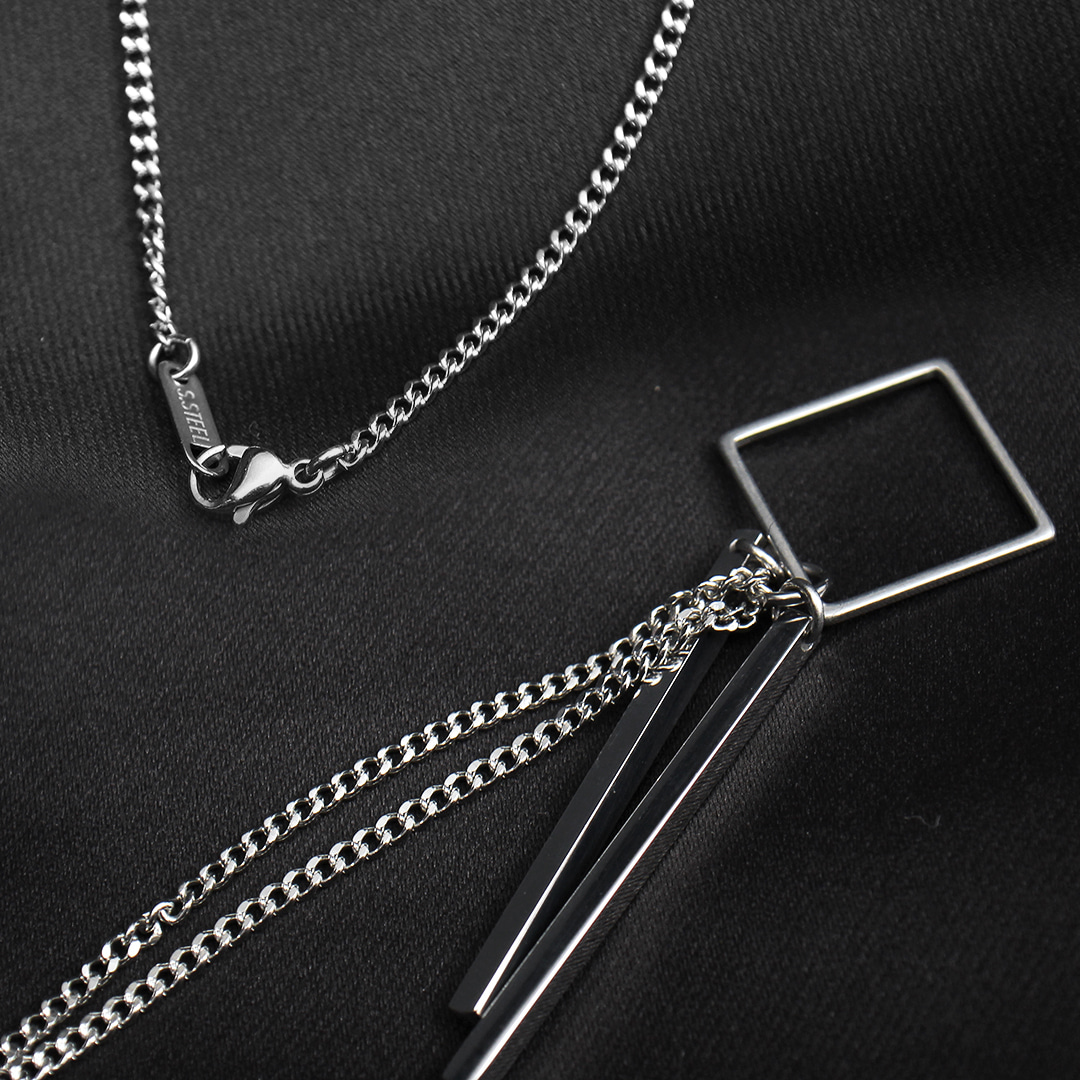 Square & Double Sticks Pendant Necklace N119