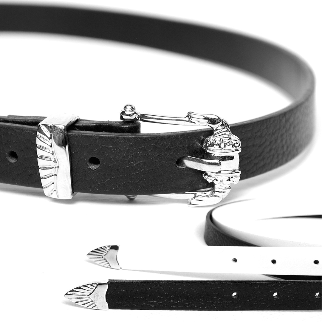 Unisex Designer Buckle Slim Leather Belt 016