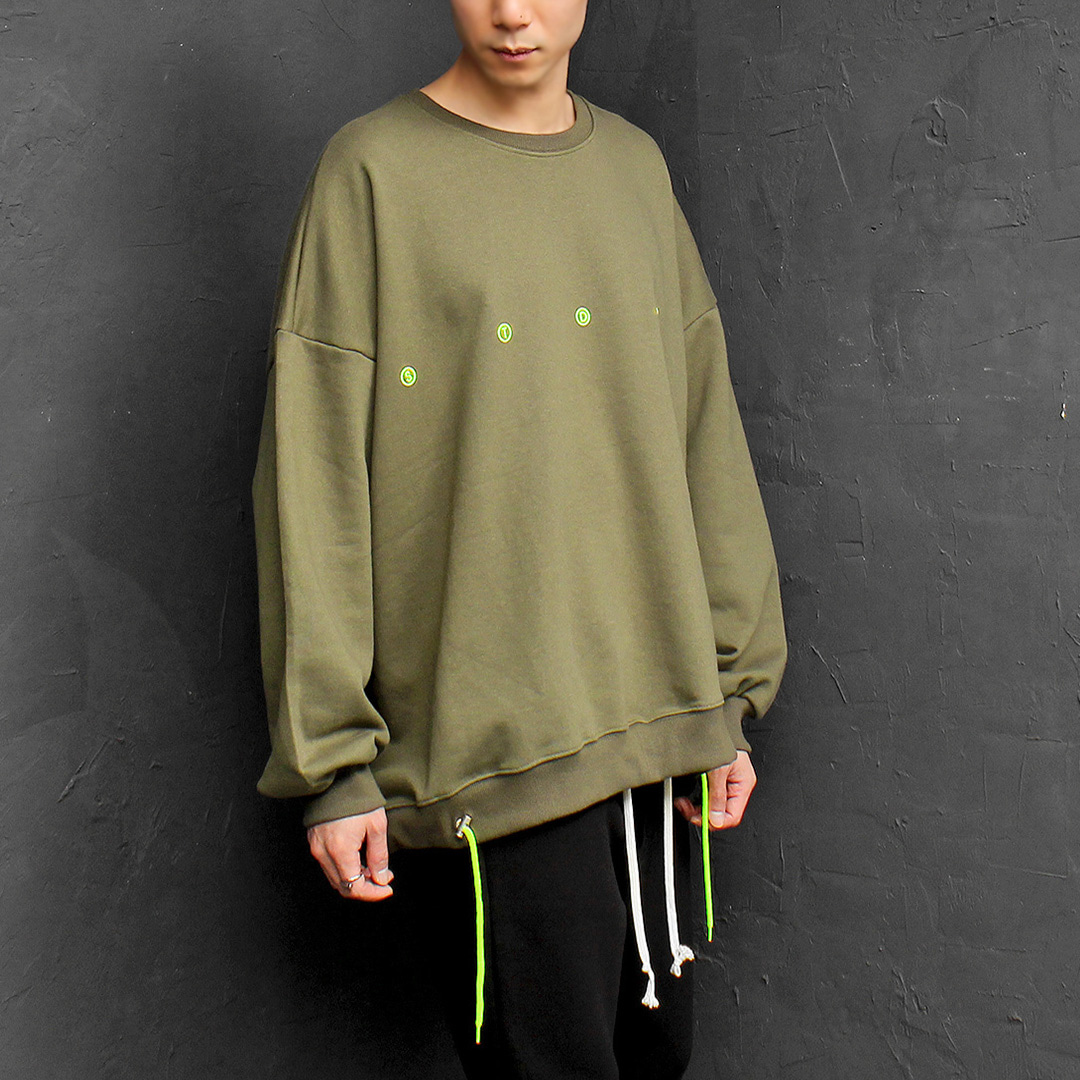 Big Oversized Loose Fit Neon Drawstring Hem Boxy Sweatshirt 077