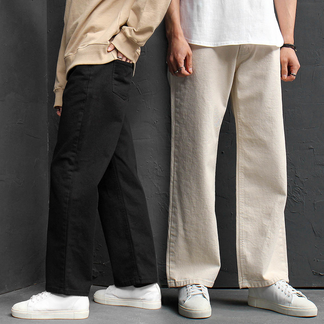 Elastic Waistband Wide Straight Denim Pants 059