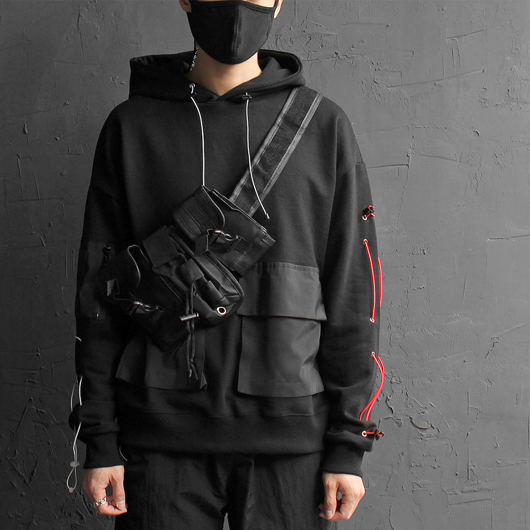 Techwear Drawstring Arm Contrast Pocket Hoodie 090