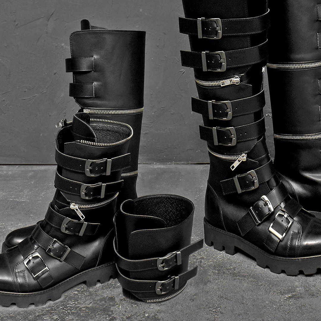 Detachable Snap Buckle Handmade Long Leather Boots 021