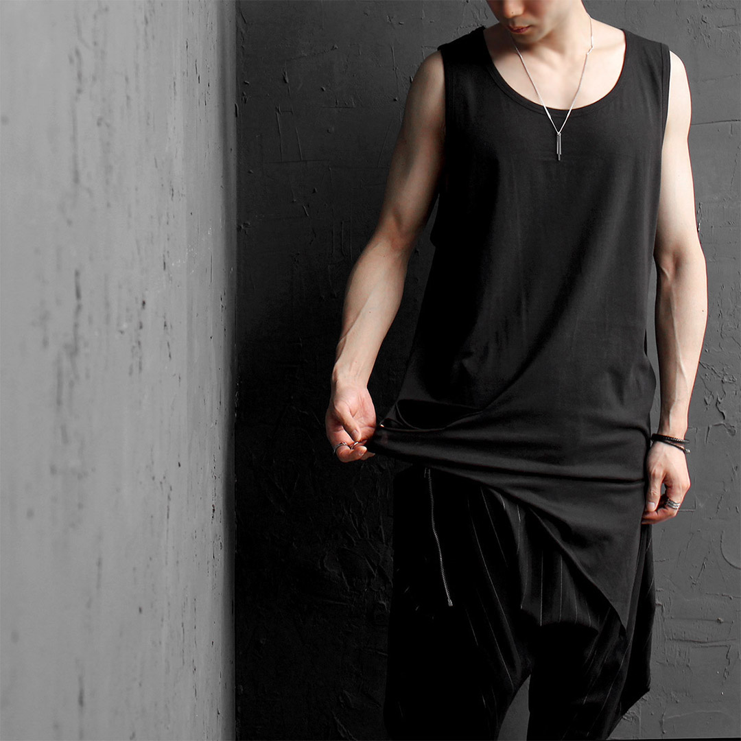 Big Oversized Diagonal Hem Vintage Cut Tank 018