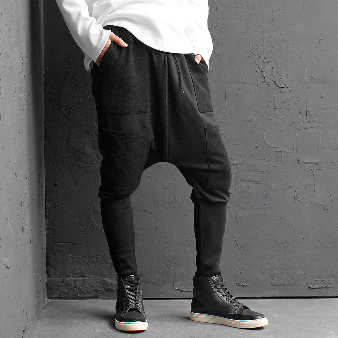 Contrast Pockets Drop Crotch Long Ribbed Hem Baggy Sweatpants 176